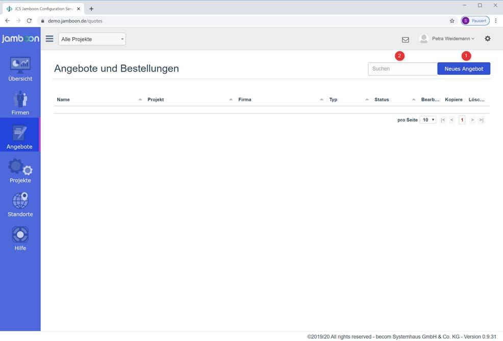 Screenshot wo man ein neues Jamboon Angebot anlegt