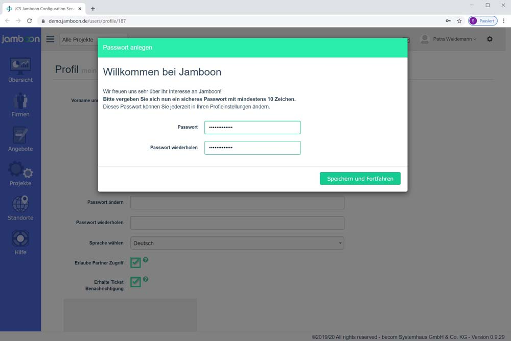 Screenshot mit Passwortvergabe für den Jamboon Configuration Server