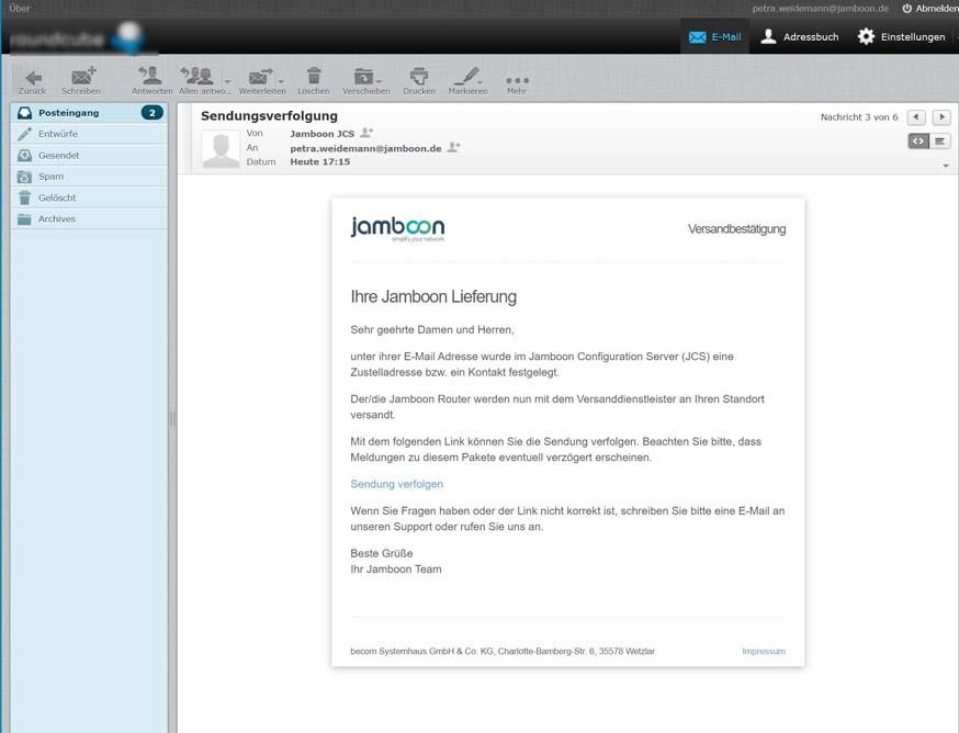 Screenshot mit E-Mail zur Sendungsverfolgung
