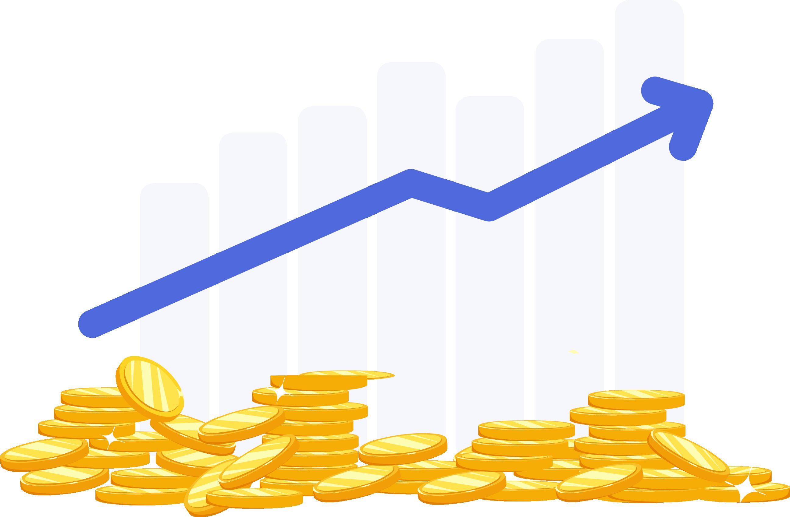 Steigender Gewinn blau